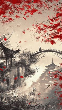 Japanese Art Prints, Japanese Artwork, Dark Fantasy Art, Fantasy Artwork, Fantasy Concept Art, Japanese Wallpaper Iphone, Samurai Wallpaper, Samurai Artwork, Japan Painting
