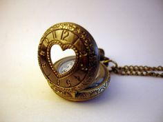 NEW ARRIVAL Antique Bronze Mini Pocket Necklace Watch by monocerus, $19.99