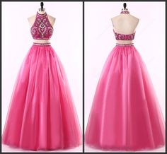 Two Piece Halter Neck Floor-length Chiffon Prom Gown