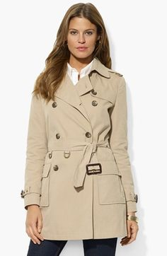 Lauren Ralph Lauren Double Breasted Trench Coat available at #Nordstrom 198.