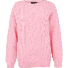 Primark AW13 Collection Pink Oversized Cable Knit Jumper ❤ liked on Polyvore featuring tops, sweaters, shirts, cable-knit sweater, cable sweaters, cable jumper, oversized shirts and pink oversized sweater