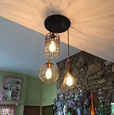 YOBO Lighting Antique 3-lights Oil Rubbed Bronze Chandelier with Wire Cage - - Amazon.com