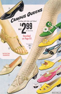 Campus Queens - colorful National Bellas Hess shoes from 1968 #60s shoes ad pump heel flat white black green gold pink yellow color photo print illustration sandal bow loafer 60s 70s