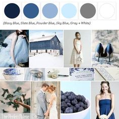 Shades of Blue, Gray + White via the Perfect Palette Library! xo