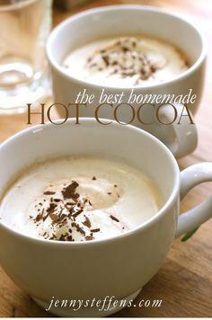 The BEST Hot Chocolate Recipe http://jennysteffens.blogspot.com/2013/01/homemade-hot-chocolate.html