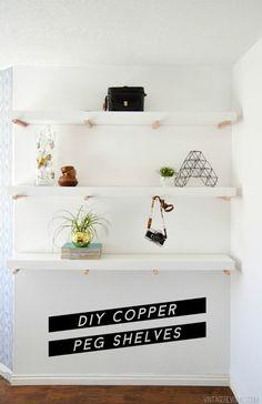 DIY Copper Peg Shelves by Vintage Revival Floating Shelves Diy, Diy Wall Shelves, Wood Shelves, Unique Shelves, Bedroom Shelves, Pipe Shelves, Diy Interior, Interior Design, Diy Home Decor