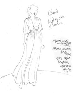 Claire's Peignoir | Sketch and description by Outlander costume designer Terry Dresbach Diana Gabaldon Outlander Series, Outlander Tv Series, Starz Outlander, Outlander Costumes, Outlander Clothing, Terry Dresbach, Sam Heughan Outlander, Men In Kilts, Fashion Illustrations