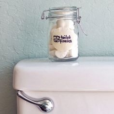 DIY Toilet Cleaning Bombs - Deodorize & Kill Bacteria! Keep them on the back of the toilet ;)
