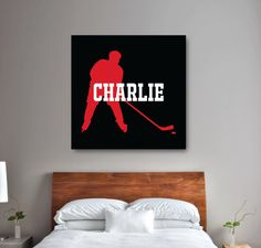 Add a personalized touch to your room with this ice hockey canvas. It is perfect for any hockey player's bedroom or bathroom. Boys Hockey Bedroom, Ice Hockey Players, Thing 1, Hunter Green, Boy Room, Black And White, Red Black, How To Find Out, Bedroom Ideas