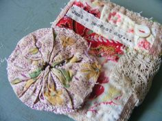vintage textile collage pin
