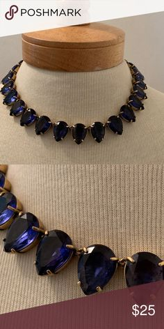 Cobalt Blue Necklace Pop some color with this sapphire and gold colored necklace. Great quality, worn just a few times. Banana Republic Jewelry Necklaces