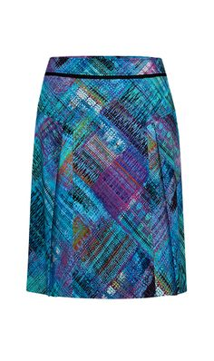 KLEE $165 214574 Stretch cotton sateen linear crosshatch print pleated A-line skirt.