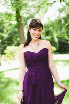 Deep purple bridesmaid dress. This is the other color that I want, but for my maid of honor! =) Deep purple and deep red go perfectly together, and gives a fall wedding an extra pop of color!