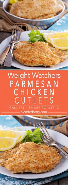 Weight Watchers Parmesan Chicken Cutlets Dinner recipe with Italian breadcrumbs, paprika, parsley, garlic powder and pepper. Fast and easy low-calorie, low-fat and low-carbohydrate healthy recipe. Low Calorie Chicken Recipes, Chicken Cutlet Recipes, Cutlets Recipes, Low Calorie Dinners, Healthy Low Carb Recipes, No Calorie Foods, Recipe Chicken, Low Calorie Cheese, Skinny Chicken Recipes