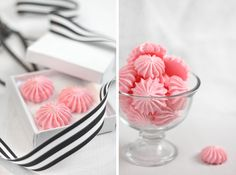 Cotton Candy Meringues -  They are just as easy to make as standard meringues!  Just swap out the granulated sugar for finely ground cotton candy sugar.  They are melt-on-your-tongue delicious, and much more stable than cotton candy, which will melt away before your very eyes!