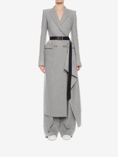 Shop Women's Double Breasted Drape Coat from the official online store of iconic fashion designer Alexander McQueen.