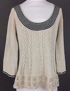 ATHROPOLOGIE SPARROW Cotton Sweater, Bell Sleeves, Ivory & Blue Stripes, Wm XS