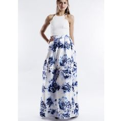 "X ""Rose Aylmer"" Fit & Flare A-line Maxi Skirt White maxi skirt with blue floral prints. Gorgeous piece to glam up any outfit. Brand new. Junior sizing. NO TRADES. PRICE FIRM Bare Anthology Skirts Maxi"