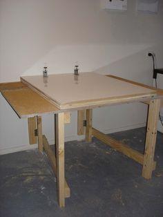 DIY Studio: Fold away table hinged to wall! Genius for a garage or small multi-purpose studio!!