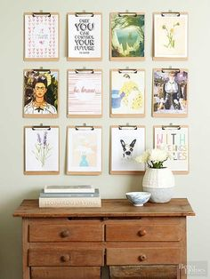 Too much art and too little wall space? Here's a genius solution: Hang clipboards in a hallway to allow for quick art swaps when the mood strikes. Arrange in a gallery style to accommodate a variety of artwork sizes.