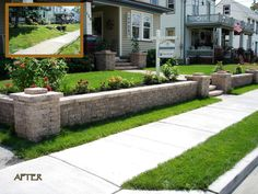 Front yard retaining wall is big improvement.