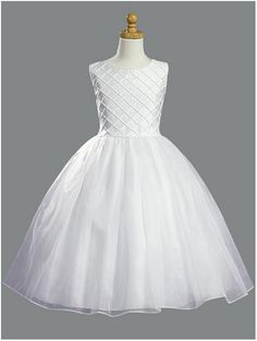 Beautiful all white Communion dress   Tucked shantung bodice with pearl accents Organza skirt Tea-length   Sizes: 5, 6, 7, 8, 10, 12, 14