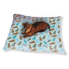 Uneekee Bouncing Bunnies Blue Dog Pillow Luxury Dog / Cat Pet Bed