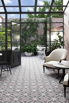 Coloured tiles are a trend in flooring this fall. Painted tiles are a big floor trend this fall. Our Tango collection is inspired by encaustic tiles developed over ten centuries ago and combines tradition with modern technique. Balcony Flooring, Balcony Tiles, Tile Flooring, Deck Tile, Balkon Design, House Extensions, Glass House, Winter Garden, My New Room