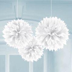 Boule pompon papier de soie blanche 25cm