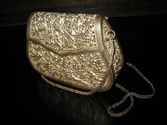Silver Plated Filigree Purse Clutch Evening Bag Decorated Floral Bird