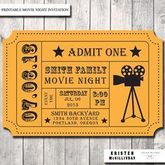 Movie Night Party Invitation DIY Digital by KristenMcGillivray, $15.00
