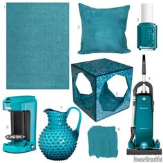 Teal colored home decor from House Beautiful.  http://www.cuttingedgestencils.com/wall-stencils-stencil-designs.html?utm_source=JCG&utm_medium=Pinterest%20Comment&utm_campaign=New%20Stencil%20Designs