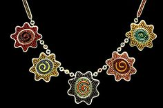 Mary Kanda, Flower Necklace, sterling silver, glass beads, torch-fired glass, tile grout
