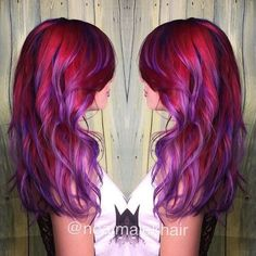 Purple and Red Color Melt. Colorful Hair. Mermaid Hair by Neal Malek #hotonbeauty