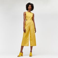 Warehouse, Cut Out Jumpsuit Yellow 1