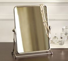 SO CUTE Vanity Mirror #potterybarn - I would like this in bronze for our dresser top