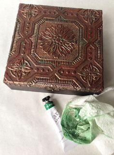 Copper finish on Dimensional Wallpaper Covered Box...use technique for Dining Room ceiling