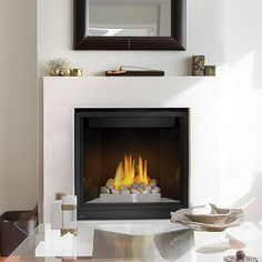 Napoleon High Definition 35 Direct Vent Clean Face High Definition Gas Fireplaces - Top Vent with Black Door BTU's - Natural Gas Direct Vent Gas Fireplace, Direct Vent, Home Fireplace, Fireplace Accessories, Living Spaces, Vented Gas Fireplace, Indoor Fireplace, Cute Living Room, Fireplace