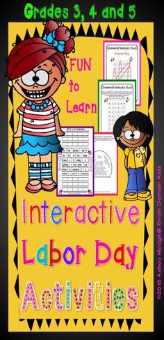 Labor Day Interactive Fun Packet: It includes 25 fun pages of the engaging Labor Day classroom activities. With these fun pages your students will learn what Labor Day is all about. The students will be challenged to check their comprehension, work in pairs and solve puzzles related to Labor Day.