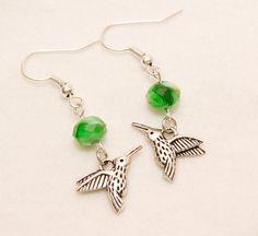 Hummingbird earrings green bead dangle earrings by HarmonyAndBliss