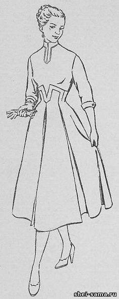 Платье с клешевой юбкой оригинального покроя - Сто фасонов женского платья - Всё о шитье