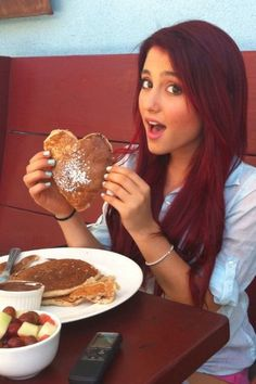 Random pic i know....gotta love heart pancakes 2 but pinned this because hands down she has the best red hair! This is my all time fave red :)