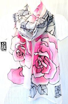 Hand painted silk scarf Pink Roses White by SilkScarvesTakuyo, $125.00