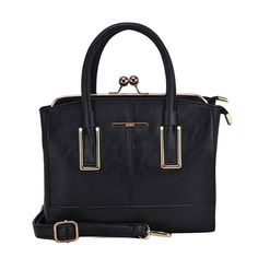 Chic Frame Clasp Lock Black Handbag