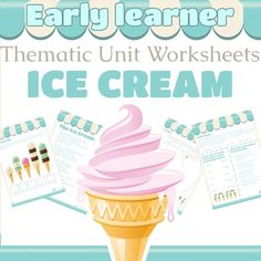 No prep ice cream theme unit worksheets covering math, literacy, language and science.  All information required to do the worksheet is on the worksheet.20 worksheets in color.  Cover PageThe Ice Cream Shop - PoemComprehension sheet for above poemRhyming wordsContractionsFact Vs OpinionStates of Matter - Information PageComprehension questions for above pageIs Ice Cream Healthy?