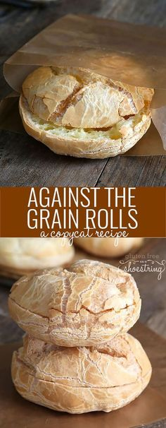 Get this copycat recipe for the original recipe Against the Grain-style gluten free rolls. Stop paying too much for packaged gluten free bread! Great gluten free recipes for every occasion Patisserie Sans Gluten, Dessert Sans Gluten, Gluten Free Desserts, Dairy Free Recipes, Wheat Free Bread Recipes, Wheat Belly Recipes, Gluten Free Breakfasts, Healthy Bread Recipes, Paleo Bread