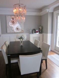 Grey and white dining room ideas elegant dining room dining room designs decorating ideas rate my space Decoration Inspiration, Dining Room Inspiration, Dinning Room Ideas, Elegant Dining Room, Dining Room Design, Dining Rooms, Grey Dinning Room, Dinning Room Paint Colors, Grey Room