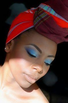 bellesaafrica:  Makeup by Bellesa Africa using Black Opal's Caribbean Blue 5-piece mosaic palette, and Eshi- gorgeous model.  Blue me away..I love blue.
