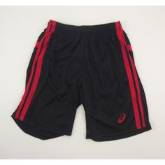Asics Performance Essentials Short Men's  Stay cool with the Asics performance essentials short. Made with a lightweight fabric. The shorts come in black with a red design. The Asics logo can be found on the leg in red.