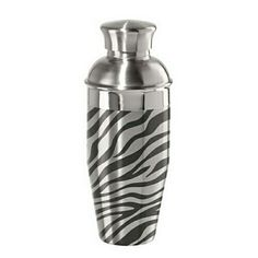 A.M.B. Furniture & Design :: ** Clearance ** :: Zebra Print Stainless Steel Cocktail Shaker (.75 Lt/ 26 Oz.)